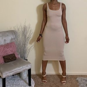 Cream Nude Ribbed Midi Dress
